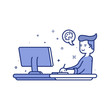 Vector illustration of blue icon in flat line style. Linear cute and happy man with desktop. Graphic design concept of graphic designer use in Web Project and Applications Outline isolated object.