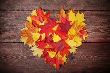 Colorful Heart Made Of Autumn ...