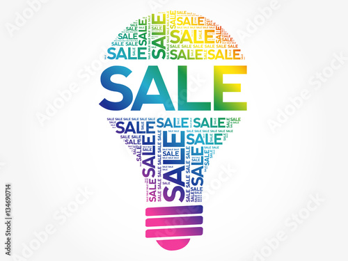 Keuken foto achterwand Sale bulb word cloud collage, business concept