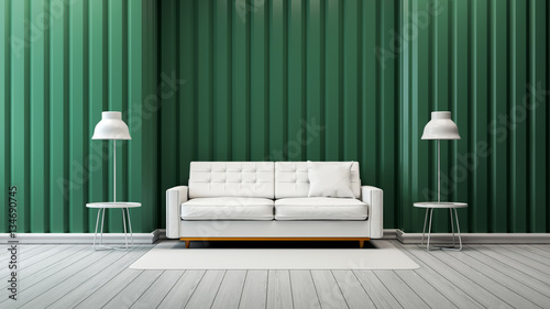 modern vintage living room interior ,white sofa and lamp with green ...