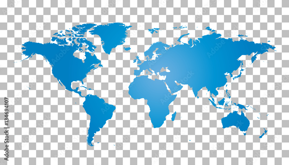 Fototapety, obrazy: Blank blue world map on isolated background. World map vector template for website, infographics, design. Flat earth world map illustration