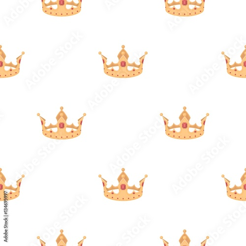Photo Stands Illustrations Crown icon in cartoon style isolated on white background. Hats symbol stock vector illustration.