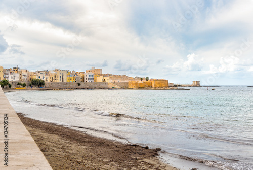City on the water Seascape of Trapani, Sicily. Italy