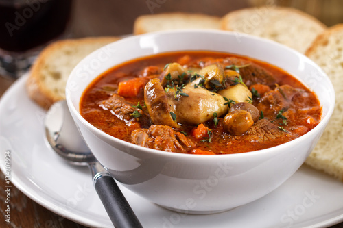 Hot stew with mushrooms