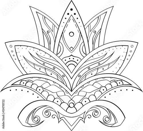 Drawing In Mehndi Style Symmetrical Lotus Flower Manual Draw There