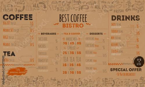 Vintage Hipster Bistro Menu Design On Crafted Paper Background