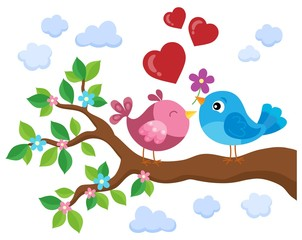 Valentine birds on branch theme 1