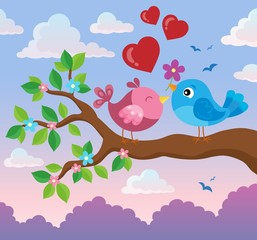 Valentine birds on branch theme 2