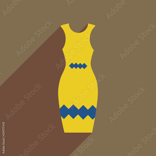 Fotobehang Schilderkunstige Inspiratie Flat icon with long shadow elegant dress