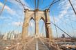Empty Brooklyn Bridge view in a sunny day, New York