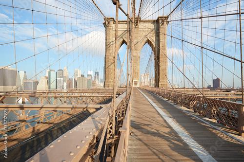 Foto op Canvas Brooklyn Bridge Brooklyn Bridge in a sunny morning in New York, nobody