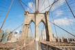 Brooklyn Bridge wide angle view in the morning sunlight, New York