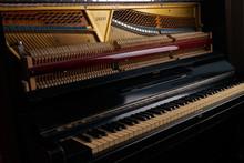 Mechanics Inside Of An Old Upright Piano
