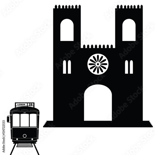 Lisbon tramway in black color with building illustration Poster