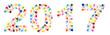 Die Jahreszahl 2017 aus bunten Handabdrücken