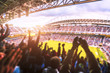 canvas print picture - Football- Soccer,a lot of fans  in full stadium celebrate goal. blurred.