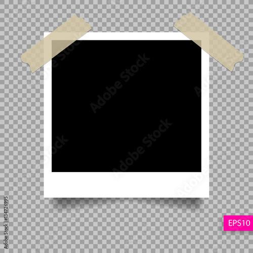 Fotografie, Obraz  retro polaroid photo frame  template on sticky tape pin