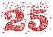 Die Zahl 25 aus roten Herzen