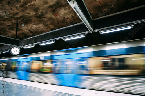 Stockholm, Sweden. Modern Stockholm Underground Subway Metro Train Station
