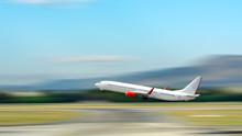 Airplane Take Off. Motion Blur...