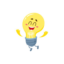 Cute Light Bulb Character With Funny Face Feeling Happy With Hands Up, Cartoon Vector Illustration Isolated On White Background. Funny Light Bulb Character Jumping Excitedly