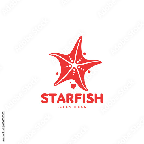 Fotografia Graphic silhouette starfish logo template, vector illustration isolated on white background