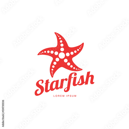 Photo Graphic silhouette starfish logo template, vector illustration isolated on white background