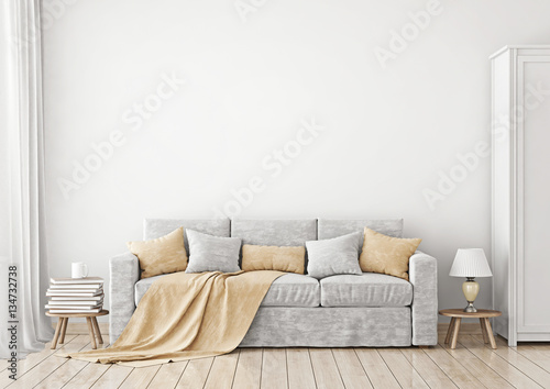 Livingroom Interior With Sofa Pillows And Plaid On Empty White Wall Background 3D Rendering