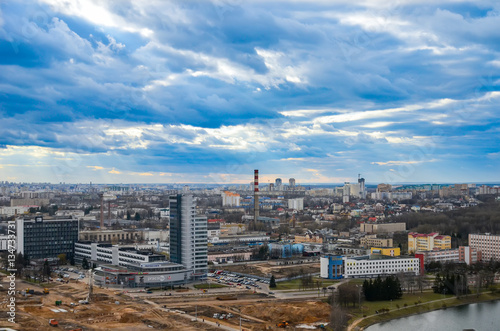 Cadres-photo bureau Milan BELARUS, MINSK - APRIL 08/2015: Students climbed to the top of the Belarusian National Library.