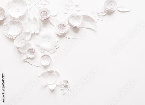 Poster Fleur White paper flowers