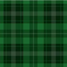 Seamless Green, Black Tartan - White Stripes