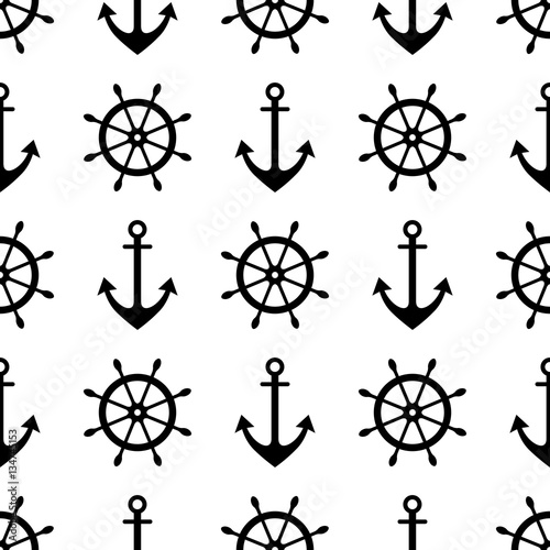 Fotografiet  Vector seamless pattern with anchor, steering wheel