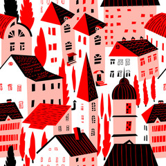 FototapetaSeamless pattern with houses. Cute city vector illustration. Architecture background