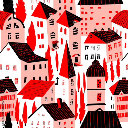 Seamless pattern with houses. Cute city vector illustration. Architecture background - 134747374