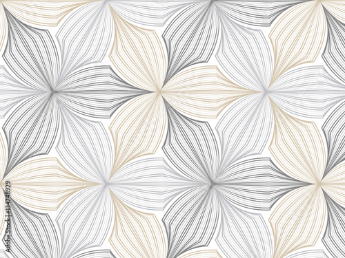 Carta da parati flower pattern vector, repeating linear petal of flower, monochrome stylish