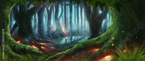 Plakaty Fantasy fantasy-forest-illustration