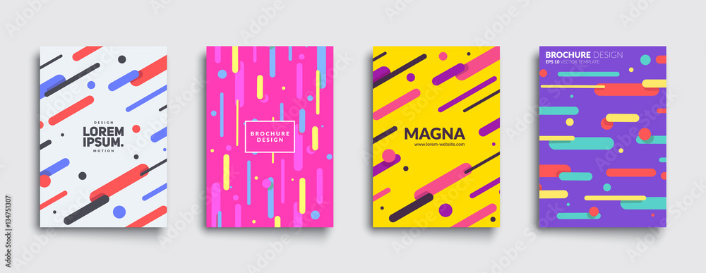 Fototapeta Covers with flat geometric pattern. Cool colorful backgrounds. Applicable for Banners, Placards, Posters, Flyers. Eps10 vector template.