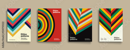 Set of covers with Ethnic Geometric Patterns Canvas Print