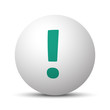 Green Exclamation Mark icon on white sphere