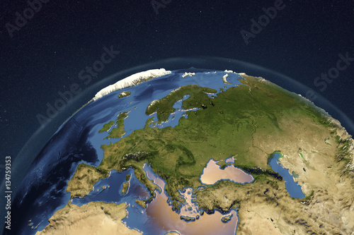 3d Globe Map Bump Map.Planet Earth From Space Showing Europe With Enhanced Bump 3d