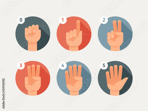 Valokuva Hand count. Flat finger and number. One, two, three, four, five.