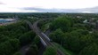 Drone shot of a train rail in Manchester, England, side