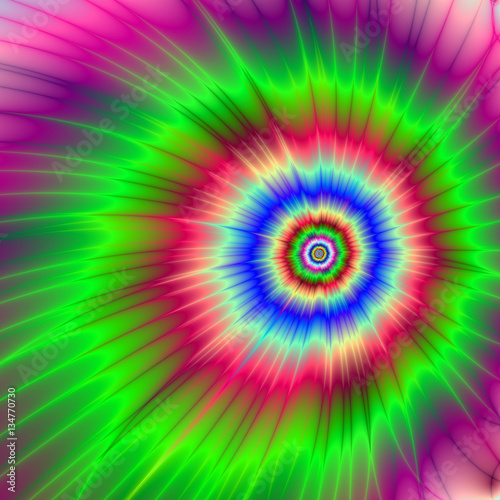 Poster Psychedelique Psychedelic Asteroid Destruction / A digital fractal image with a psychedelic color explosion design in red blue green and violet.