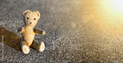 Childhood concept banner - cute vintage toy bear