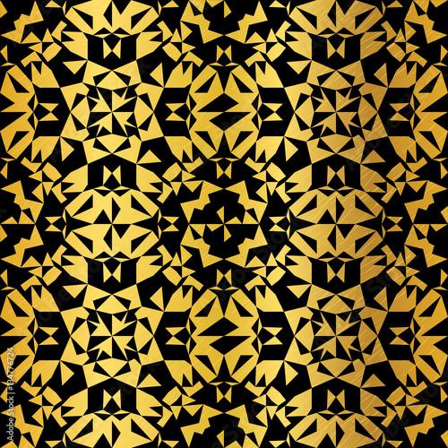 Vector Golden On Black Abstract Kaleidoscope Triangles