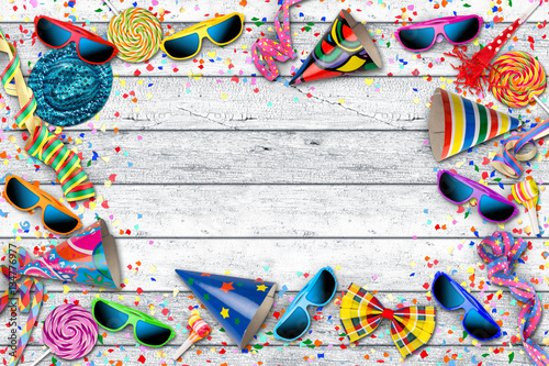 Colorful Party Carnival Birthday Confetti Background Pattern With