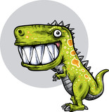 Fototapeta Dinusie - A happy, cartoon dinosaur with spots and a huge, toothy grin.