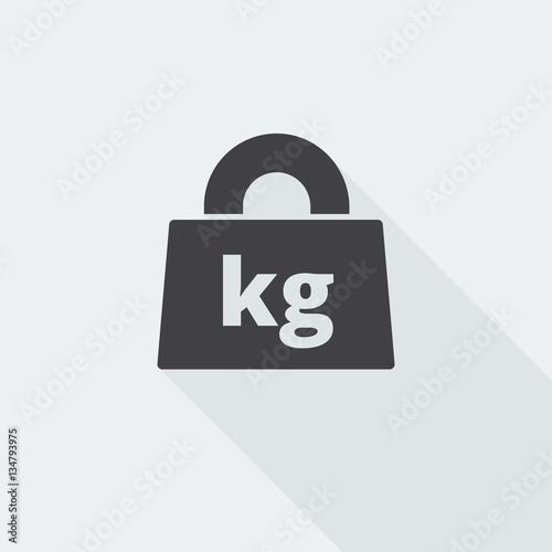 Black Flat Weight Kilograms Icon With Long Shadow On White Backg