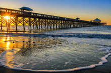 Atlantic Ocean, Scenic Sunrise, Folly Beach South Carolina