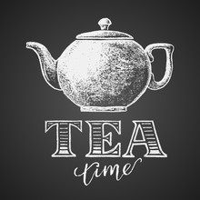 Teapot Drawn On Chalkboard With Tea Time Lettering
